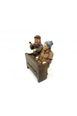 Piyano Çalan Yaşlı Çift Biblo